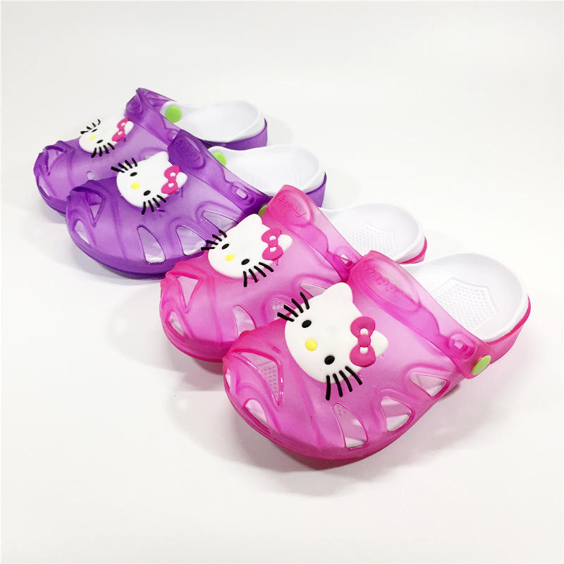 KINE PANDA Hello Kitty Toddler Girl Sandals Kids Garden Shoes with LED Light Summer Beach Boy Lighting Clogs Jelly Rabbit 1-4Y