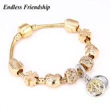 Fashion Gold Color Pandora Charm Bracelet   Bangle with Tree of