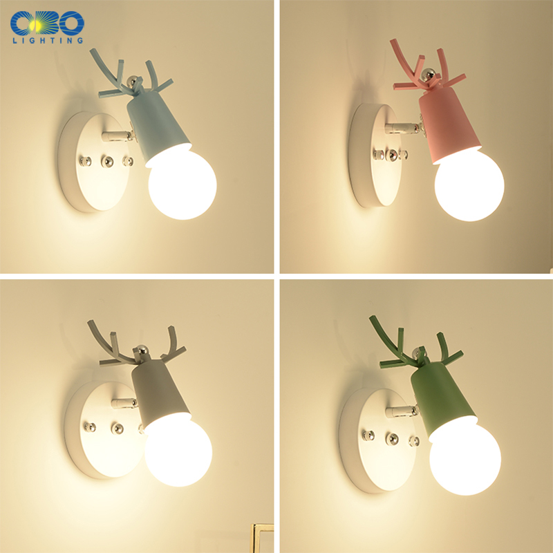 Wall Lamp Modern Antlers Iron Dining Room Bedside LED Light Bulb 110 240V Multiple Colour Mirror Light Vintage Wall Light Nordic in Wall Lamps from Lights Lighting
