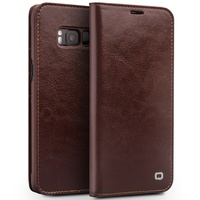 QIALINO For Galaxy S 8 Case Classic Genuine Cowhide Leather Wallet Case Cover For Samsung Galaxy