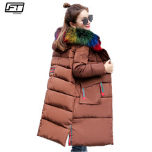 Fitaylor Big Fur Winter Jacket Female 2017 Loose Hooded Thick Long Parka Mujer Warm Down Cotton Coat Black Pedded Outwear