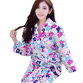 Flannel Robes For Women 2016 Autumn Winter Cute Floral Bathrobe Coral Fleece Bath Robe Dressing Gown Kimono Lounges Homewear