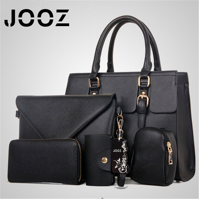 JOOZ Brand Luxury Saffiano Lady Handbag 5 Pcs Composite Bags Set Women Shoulder Crossbody Bags Coin Purse Clutch Envelope Wallet