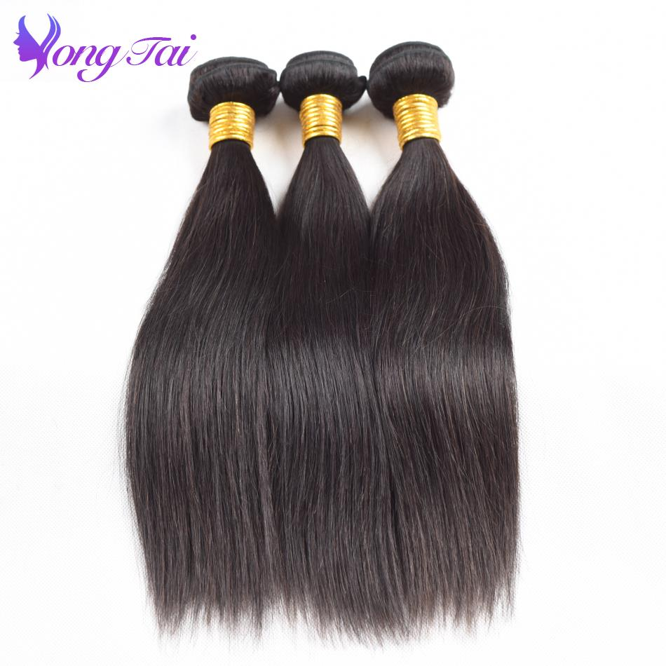 Yuyongtai Hair Extension Remy Hair 3 Bundles 10-26 Inch Natural Color Indian Hair Straight Bundles Unprocessed Human Hair Weave