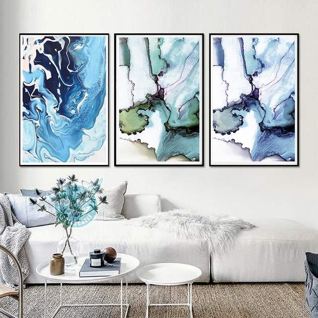 Modern Wall Painting Marble Green Grey Decor Abstract Art Large Printable Chinese Watercolour Style Printing Canvas