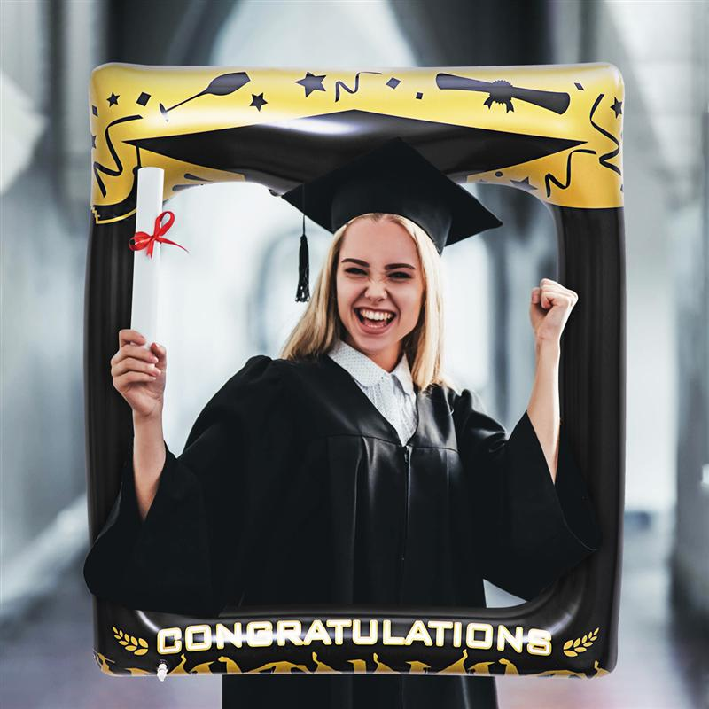 Amosfun 1pc Graduation Party Inflatable Photo Booth Props Picture Frame Blow Up Photobooth Props Funny Props Selfie 72 X 61cm