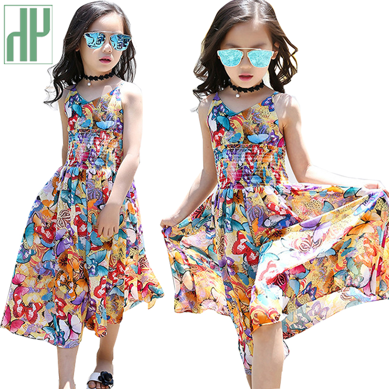 a8272c4eef31a US $7.83 53% OFF|Kids girl summer beach dress flower Wedding Party princess  dress children teenager clothes Girls costume Vestidos 6 10 16 Years-in ...