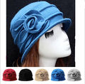 Lady Women's Wool Church Cloche Hat Bucket Winter Floral Hat Rose Leaves Caps Fedoras