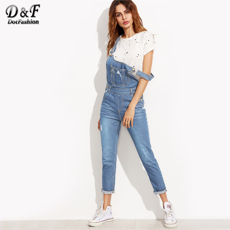 Dotfashion Ripped Overall Jeans With Pocket 2019 Cute Women Blue Bottom Autumn Pocket Button Sleeveless   Jumpsuits