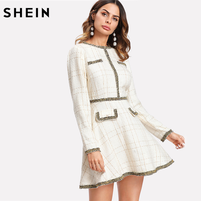 Шеин Fit and Flare элегантное женское платье бахромой и Перл Украшенные Твид платье многоцветный с длинным рукавом плед линии платье