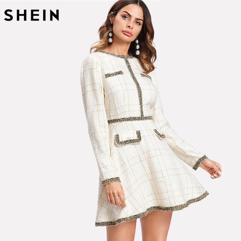SHEIN Fit and Flare Elegant Women Dress Fringe and Pearl Embellished Tweed Dress Multicolor Long Sleeve Plaid A Line Dress
