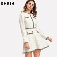 SHEIN Fit and Flare Elegant Women Dress Fringe and Pearl Embellished Tweed Dress Multicolor Long Sleeve Plaid A Line Dress