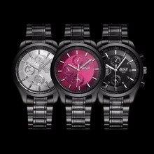 1 pc Hommes Montres horloge Montre-Bracelet Occasionnelle Pleine Bracelet En Acier Montres À Quartz Horloge Montre de Sport Relogio Masculino ronde Anti-choc X4