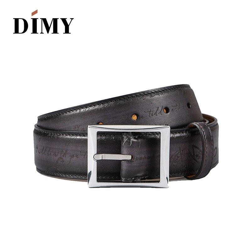 100% cuir de vachette véritable ceintures pour hommes Designer boucle ardillon affaires mode ceinture brossé à la main rétro lettre jeunesse ceintures sauvage - 3