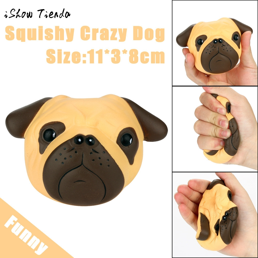Fun antistress ball Pug Dog Mini Squeeze Squishy Toys Slow Rising 8cm Squeeze Stretchy Animal Healing Stress kids adults toys