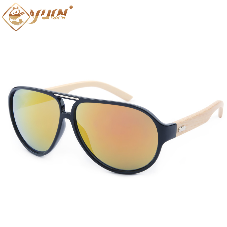 New 2018 hot sale classic mens sunglasses brand designer big frame bamboo temples goggle for oculos