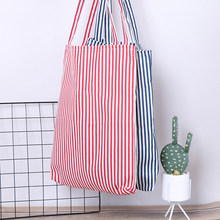 1PCS Female Fashion Durable Striped Shopping Bags Shopping Tote Women Student Cotton Linen Single Shoulder Bag(China)