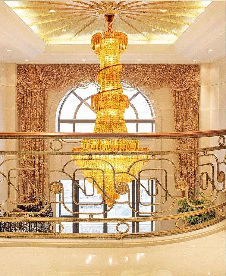 Ոսկե բյուրեղապակի ջահ, շքեղ երկար - Ներքին լուսավորություն - Լուսանկար 4