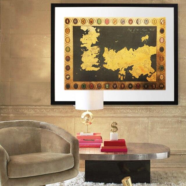 Autocollant mural cravate de carte des Thrones | Étiquette Vintage en papier Kraft, pour intérieur Bar café, peinture décorative, 70X51cm