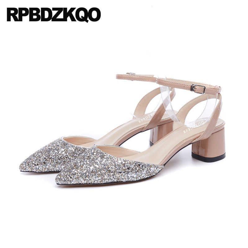 288a83050 Pointed Bling Sequin Closed Toe Wedding Ankle Strap Pumps Women Shoes 2018  Spring High Heels Chunky