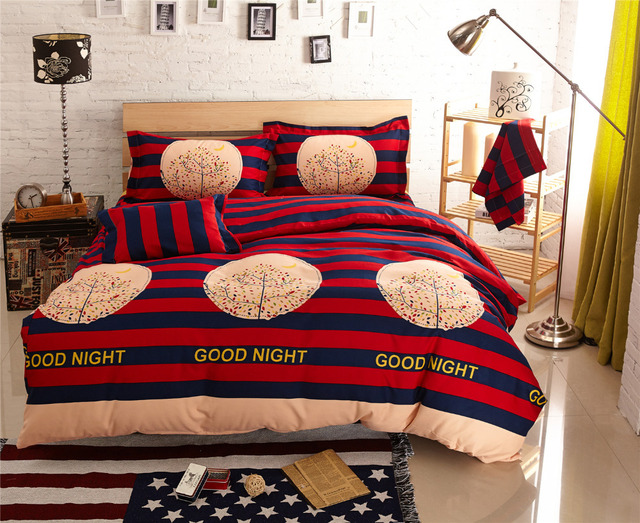 Good Night Comforter Sets Striped Bed Linen Funda Nordica Comforters And Quilts Cool Sheets Housse De Couette Couvre Lit