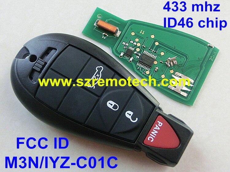 Free Shipping FCC: M3N/IYZ-C01C Smart Remote Key Fobik Keyless Fob Transmitter 3B+Panic for Dodge Chrysler 433MHz ID46 Chip