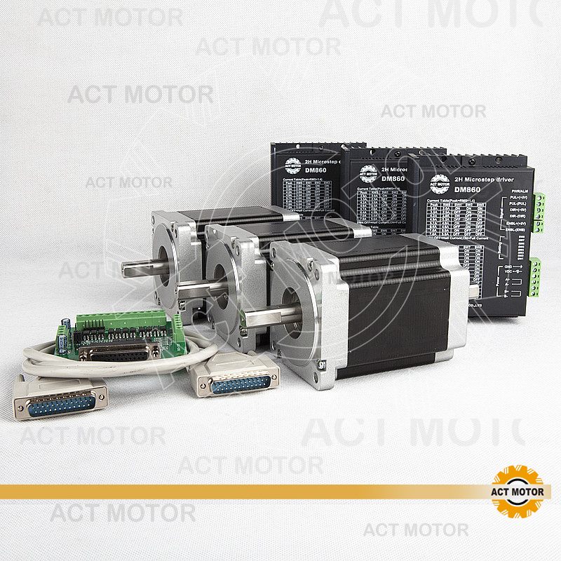 ACT Motor 3PCS Nema34 Stepper Motor 34HS1456B Dual Shaft 4-Lead 1232oz-in 118mm 5.6A+3PCS Driver DM860 7.8A 80V US DE UK JP Free free ship from germany act 3pcs nema34 stepper motor 34hs1456b dual shaft 4 lead 1232oz in 118mm 5 6a 3pcs driver dm860 7 8a 80v