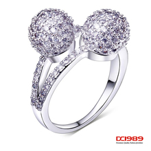 DC1989 Double Ball Lady Wedding Party Gold Ring Rhodium Plated Synthetic Cubic Zircon Environmental Friendly Material Lead Free