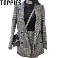 2019 Women Plaid Blazers Mini Skirt Two Pieces Sets Elegant Women Plaid Skirt Suits Spring Blazer