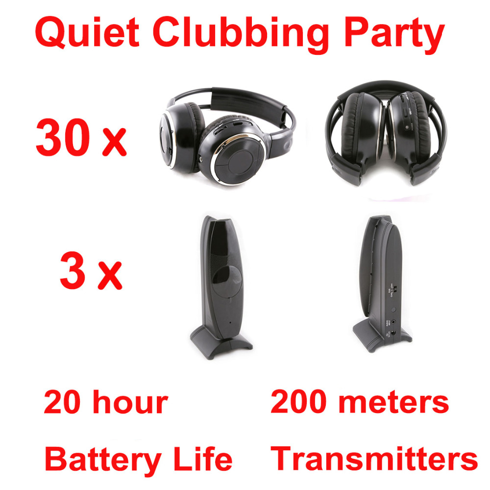 Silent Disco complete system black folding wireless headphones - Quiet Clubbing Party Bundle (30 Headphones + 3 Transmitters)