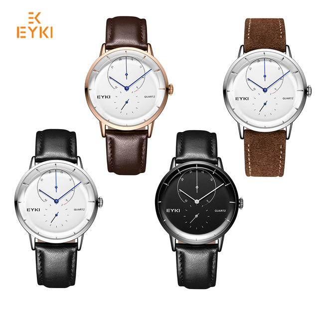 Men Genuine Leather Quartz Watches With Box