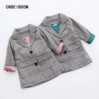 Spring Autumn Kids Plaid Blazer Long Style Jacket Girls Jackets Clothes Children Outwear For Baby Girls