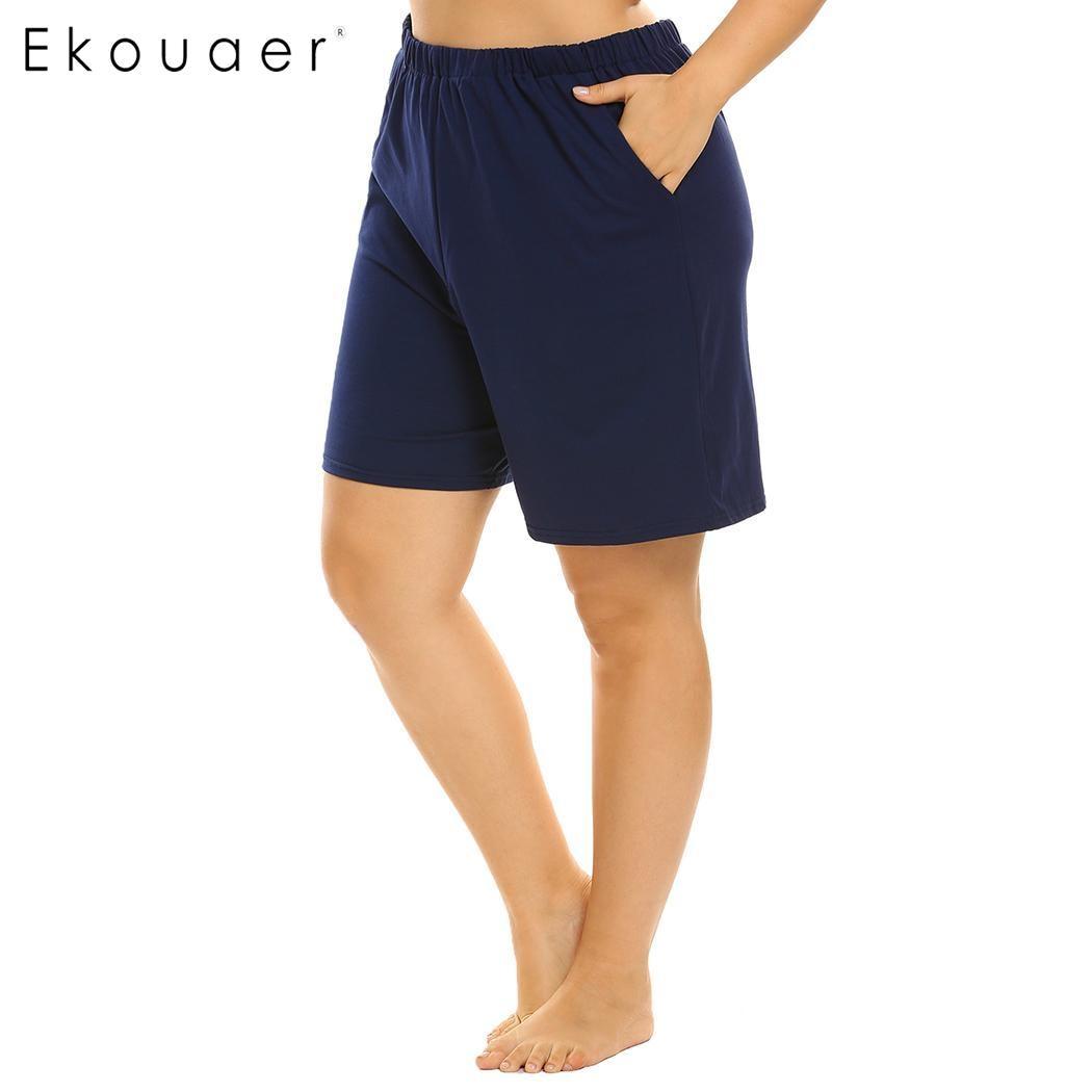 Ekouaer Plus Size Women Elastic Waist Short Pants Pajama Sleep Bottom Soft Loose Lounge Sleepwear Pants Female Nightwear XL-5XL 3