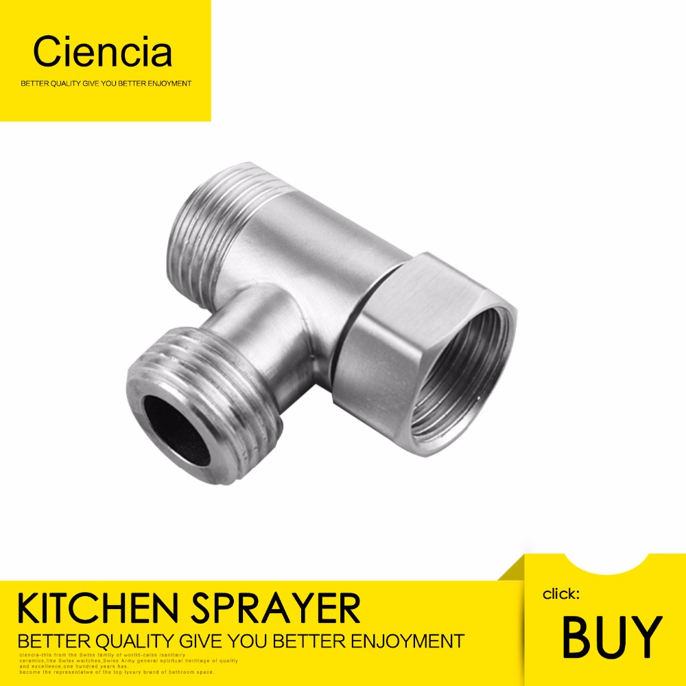 Free Shipping Ciencia 3-way Tee Connector 304 Stainless Steel T Adapter G 1/2 T Valve for Bidet, Sprayer