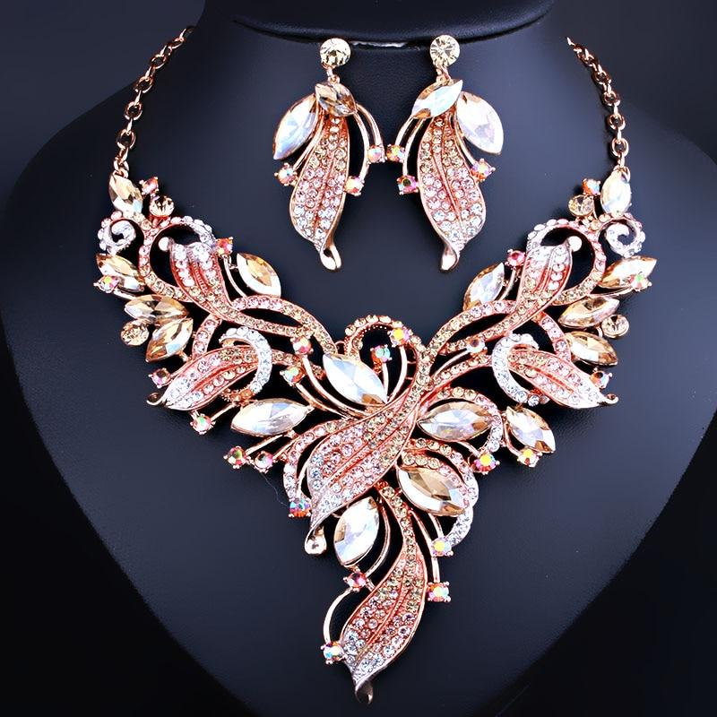 FARLENA JEWELRY Elegant Crystal Rhinestones Plant Shaped Necklace Earrings set for Women Wedding Fashion Bridal Jewelry