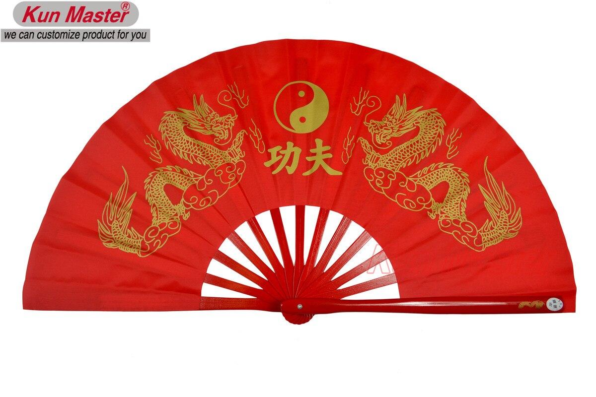 De bambú Kung Fu abanico de luchas de artes marciales práctica rendimiento Fan de Wu Shu Fan doble DRAGÓN dorado (rojo) Trajes tradicionales chinos para hombres, Chaqueta de traje Tang Wu Shu Tai Chi Shaolin Kung Fu Wing Chun, camisa de manga larga, traje de ejercicios