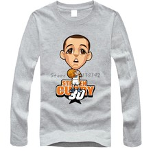 795a98e39 Stephen Curry JaVale McGee cartoon t shirt men's train O neck Long-sleeve  male cotton
