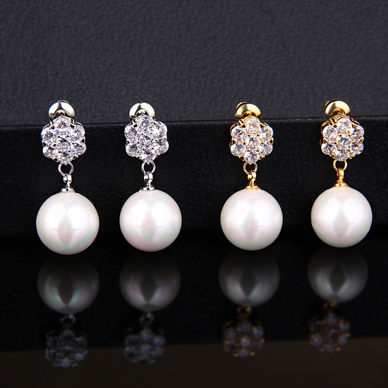 Women Fashion Pearl Earrings Classic Zircon Simple Drop Earrings Prevent Allergy 925 Silver Needle Wedding Bride Earrings