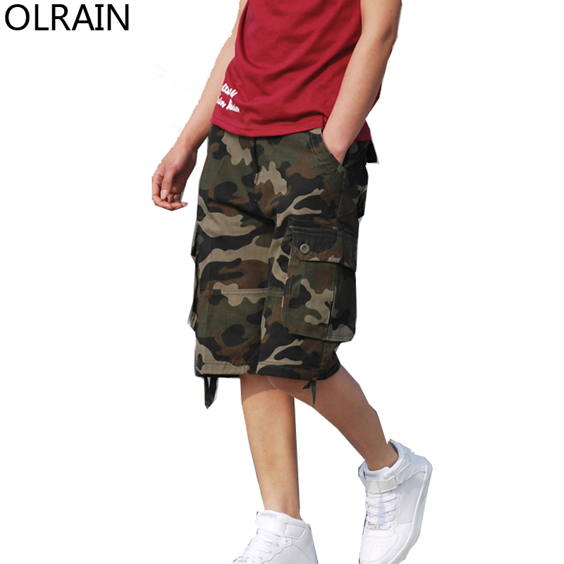 Olrain Mens Fashion Casual Military Army Green Camouflage Cargo Work Shorts Baggy Shorts 29-42
