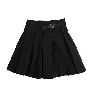Image 5 - InstaHot gothique taille haute plissé jupes femmes 2019 Punk école Style froncé noir plissé Mini jupes boucle Streetwear printemps