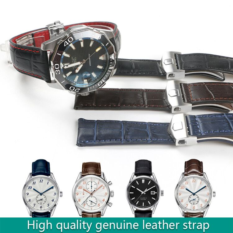 Watchband Genuine Leather Strap For Carrera Business Watchstrap Galaxy Gear S3 19mm 20mm 22mm Black Blue Brown Man Fold Buckle