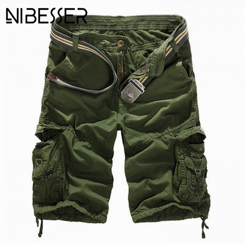 NIBESSER 2018 Men Cargo Shorts Casual Loose Short Pants Camouflage Casual Summer Style Knee Length Plus Size Comfortable Shorts