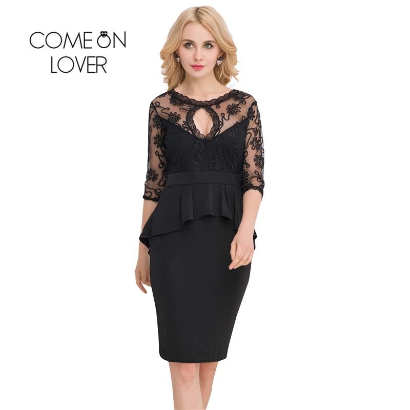 RI80206 Comeonlover Vyšívané půl rukávy Černé peplumové šaty Květinové krajky Patchwork Plus Velikost Večerní Party Pouzdro Bodycon Dress
