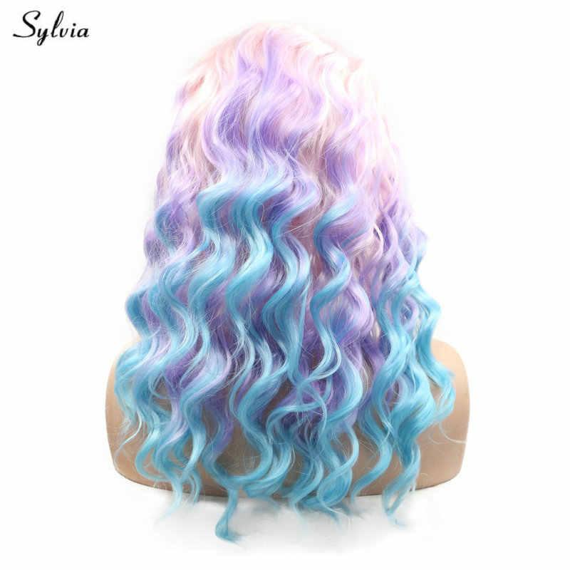 Sylvia Bouncy Lockige Medium Haar Mädchen Cosplay Partei Baby Rosa/Pastell Lila Lila/Blau Ombre Synthetische Spitze Front perücken für Frauen