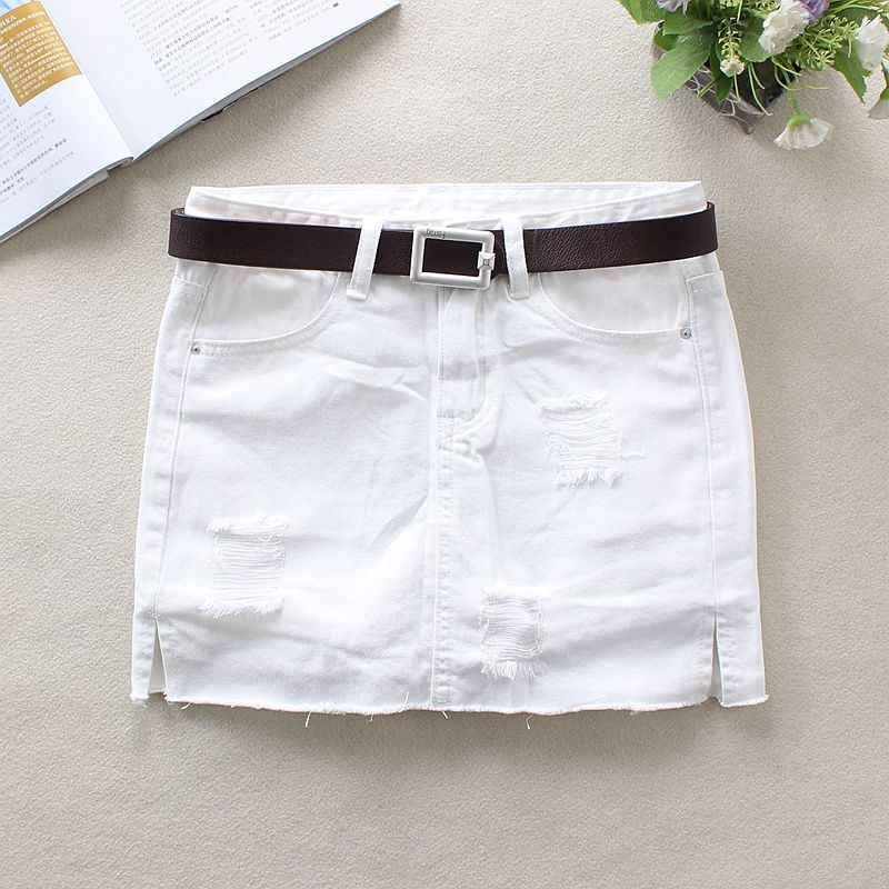8a011bcce 2019 Summer White Jeans Skirts Womens Elastic Skinny Pencil Skirts Hole  100% Cotton Above Knee