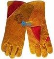 Бесплатная Доставка 14 дюймов Безопасности Перчатки Сплит Корова Кожаные Перчатки для Сварочных Работ