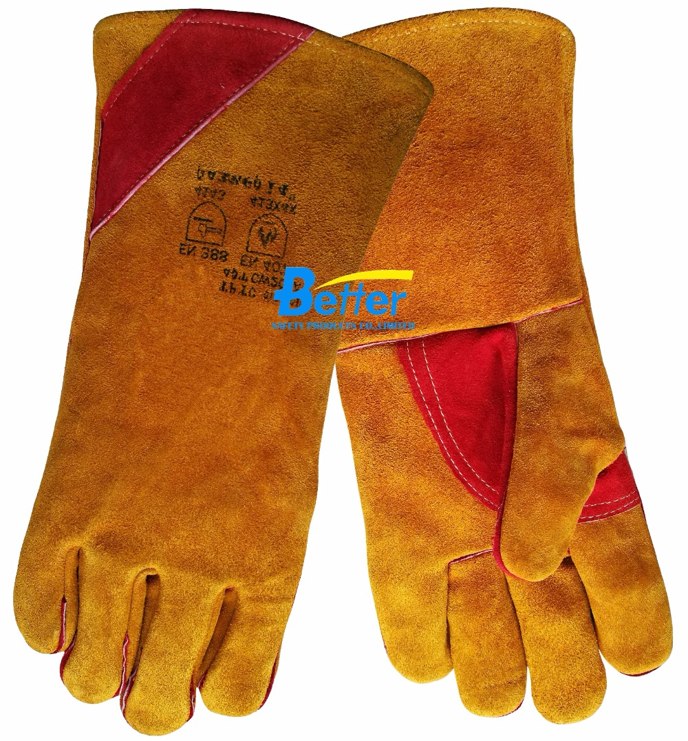 Leather work gloves for welding - Free Shipping 14 Inch Safety Glove Split Cow Leather Welding Work Glove