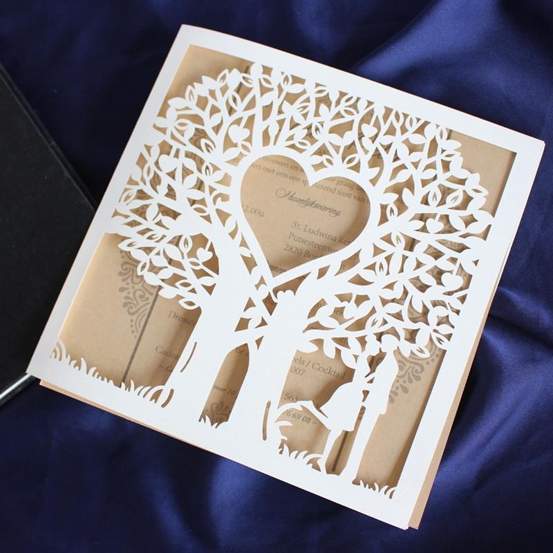 Tree laser cut wedding invitation card hollow valentine s day greeting card customized printing 50pcs