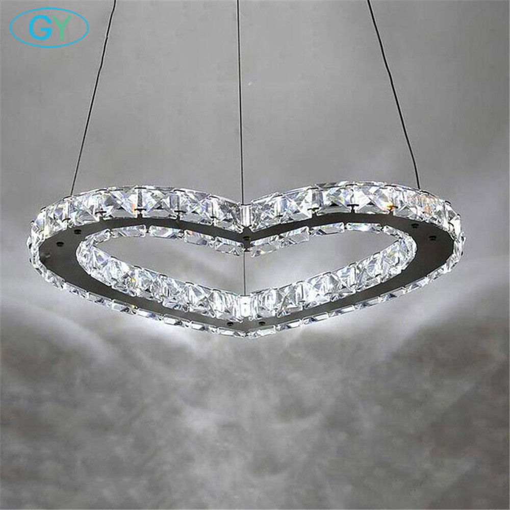 Modern LED crystal chandelier light 18W 25W LED lamp D37cm D50cm Romantic Heart lustre LED stainless steel hanging lamp fixture led crystal chandelier lamp can be customized stainless steel restaurant