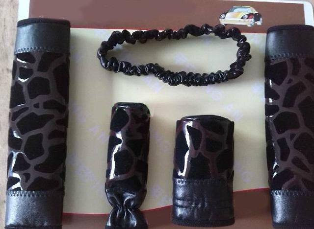 Más barato negro estampado leopardo de la PU Interior del automóvil decoración del coche 5 unids conjuntos